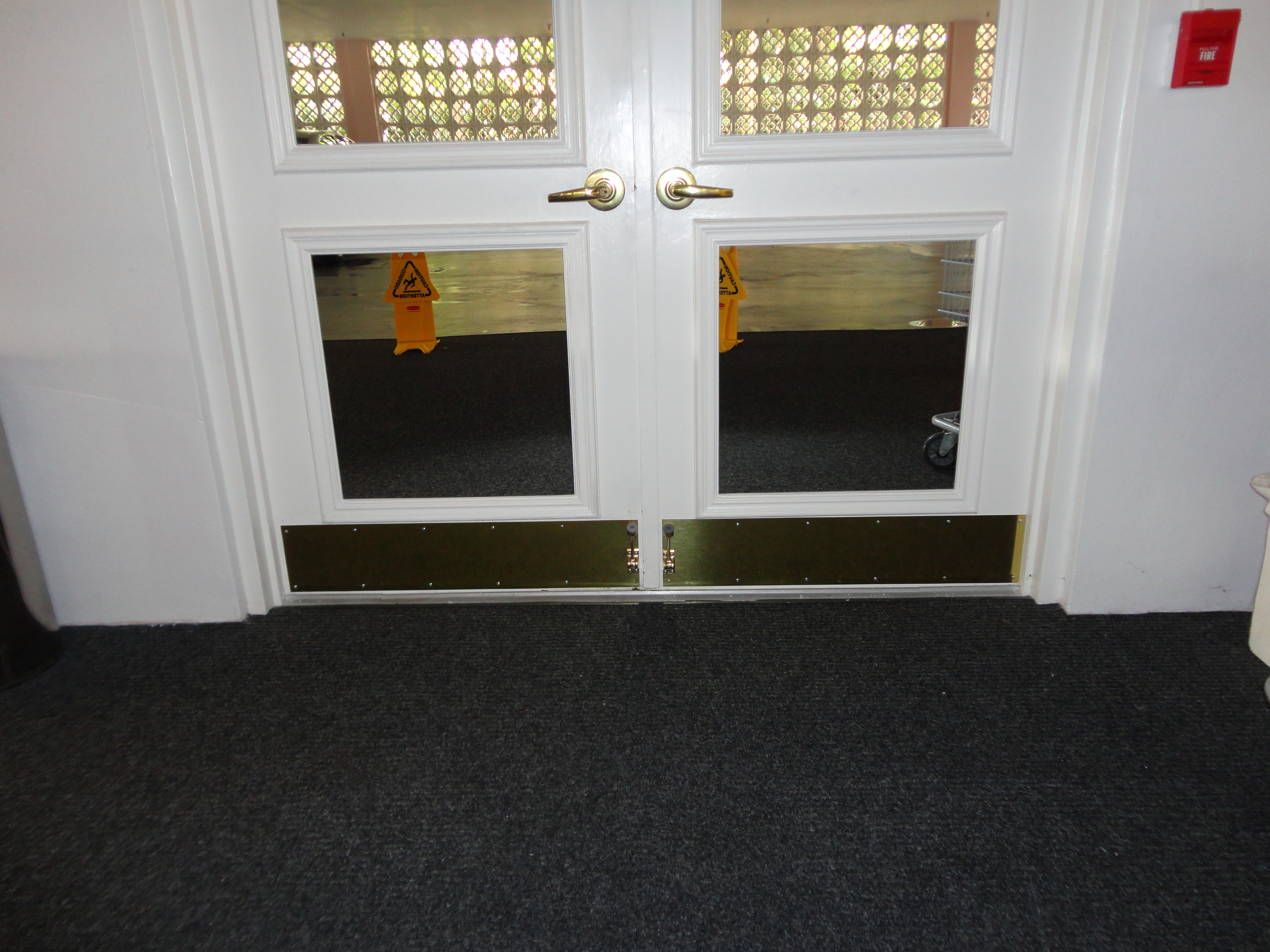 New Brass Kick Plates And Doorstops For The Entrance